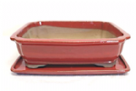 Bonsai Pot, Rectangle (CC), 32cm, Red, Glazed, Saucer